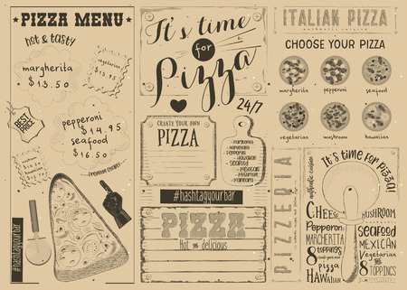 Pizzeria Placemat - Craft Paper Menu Template for Pizza House with Place for Text in Vintage Style. Italian Cuisine. Vector Illustration.