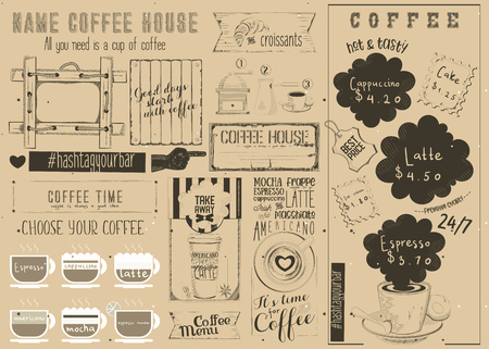 Coffee Menu Placemat Design. Craft Template for Coffee Shop and Cafeteria. Retro Style Table Mat. Place for Text. Vector Illustration. Illustration