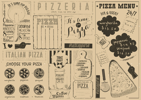 Pizzeria Placemat - Craft Paper Menu Template for Pizza House with Place for Text in Retro Style. Italian Cuisine. Vector Illustration.