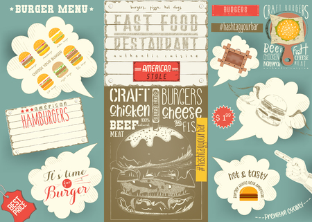 Template Menu for Burger House, Colorful Placemat, Table Mat for Restaurant in Retro Style with Hand-drawn Graphic and Infographic. Vector Illustration. Vettoriali