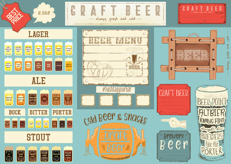 Beer drawn menu design, craft beer for restaurant, bar, pub and cafe. Place for text menu, vintage craft paper design. Beer infographic vector illustration.