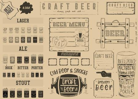 Beer drawn menu design, craft beer for restaurant, bar, pub and cafe. Place for text menu, vintage craft paper design. Beer infographic vector illustration.