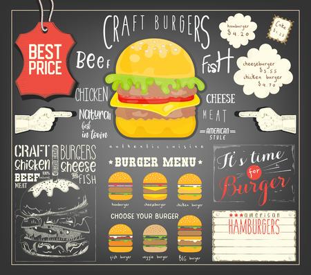 Burger Menu Template Placemat. Fast Food Concept. Vector Illustration.
