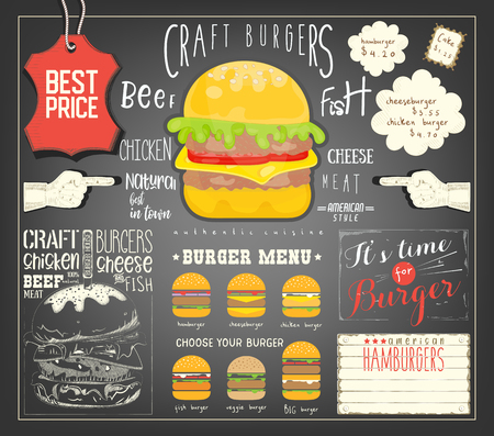Burger Menu Template Placemat. Fast Food Concept. Vector Illustration. Stock Vector - 101229160