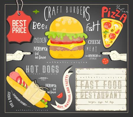 Fast Food Menu Template Placemat. Vector Illustration. Illustration