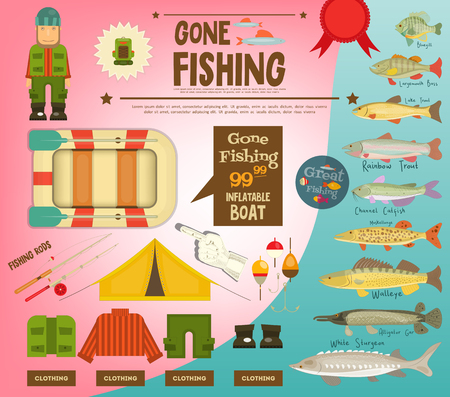 Freshwater Fish of North America, equipment for fishing. Infographic Poster for Fishing Club. Vector Illustration.