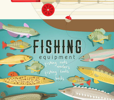 Fishing Equipment Poster with Boat, Freshwater Fish and Rod. Vector Illustration. Banque d'images - 101966417