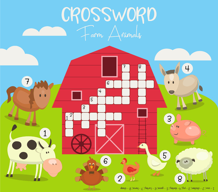 Kids Colorful Crossword in English. Magazine Book Puzzle Game with Cute Farm Animals. Vector Illustration.
