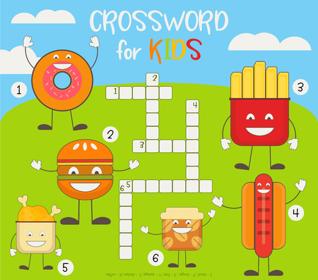 Kids Colorful Crossword in English. Magazine Book Puzzle Game with Cute Fast Food Characters. Vector Illustration.