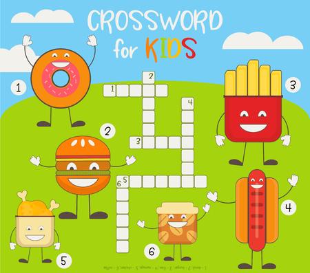 Kinder buntes Kreuzworträtsel in Englisch. Magazinbuch-Puzzlespiel mit niedlichen Fast-Food-Charakteren. Vektor-Illustration.