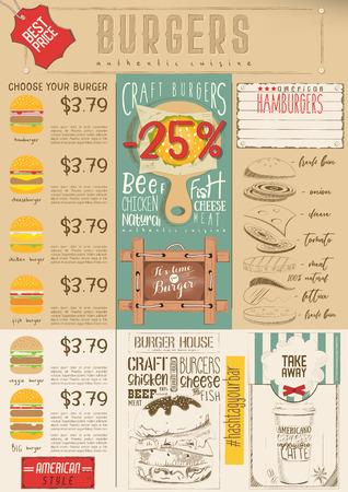 Fast Food Drawn Menu Design. Burgers Menu for Restaurant and Cafe. Vertical Format. Vector Illustration. Çizim