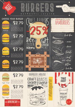Fast Food Drawn Menu Design. Burgers Menu for Restaurant and Cafe on Chalkboard. Vertical Format. Vector Illustration.