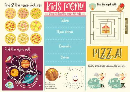 Modèle de menu pour enfants. Napperon pour café, pizzeria. Ensemble de puzzles pour enfants. Illustration vectorielle.
