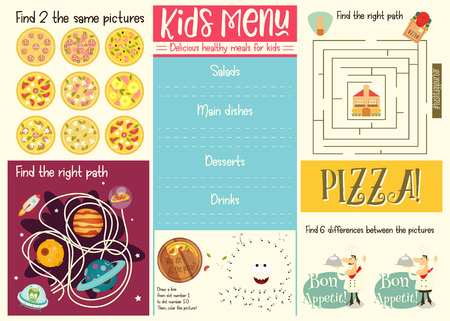 Kids menu template. Placemat for cafe, pizzeria. Set of kids puzzles. Vector illustration.