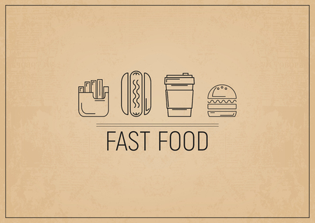 Fast Food - Fries, Hot Dog, Burger, Coffee. Placemat for Bar, Pub and Cafe. Retro Craft Paper Design. Vector Illustration.