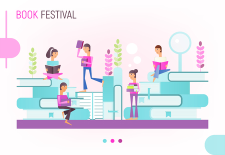 Book Festival and Fair Poster in Modern Flat Design. Man and Woman Read Books. Vector Illustration for Reading Challenge.