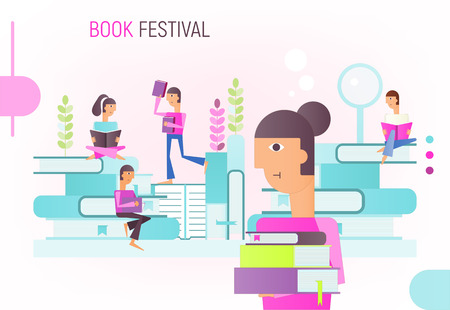 Modern Flat Design Concept for Book Festival, Fair, Reading Challenge. Small Characters Cartoon People Reading and Sitting on Big Books. Vector Illustration.