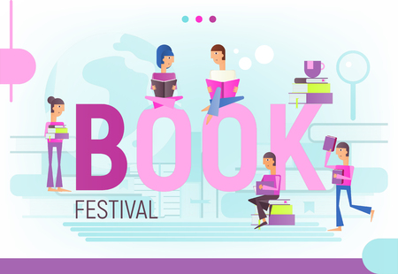 Modern Flat Design Concept for Book Festival, Fair, Reading Challenge. Stacks of Books with Small People Reading. Vector Illustration for Literature Event, Bookstore Advertising, Book Fair Banner.