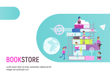 Modern Flat Design Concept for Bookstore Advertising. Small Characters Cartoon People Reading and Sitting on Big Books. Vector Illustration.