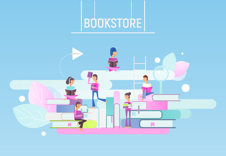 Modern Flat Design Concept for Bookstore Advertising. Small Characters Cartoon People Reading and Sitting on Big Books. Vector Illustration for Literature Event. Stock Illustratie