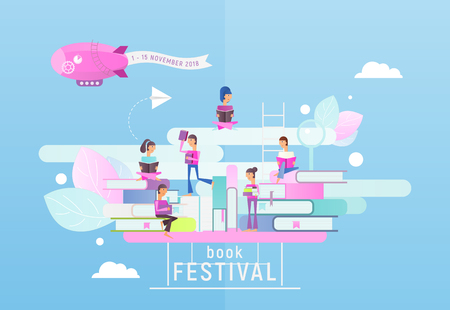 Modern Flat Design Concept for Book Festival, Fair, Reading Challenge. Small Characters Cartoon People Reading and Sitting on Big Books. Vector Illustration for Literature Event, Bookstore Advertising, Book Fair Banner.