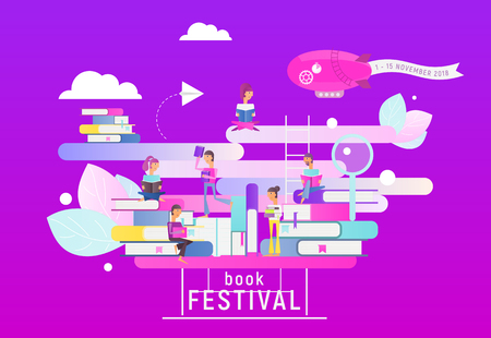 Modern Flat Design Concept for Book Festival, Fair, Reading Challenge. Small Characters Reading Books. Vector Illustration for Literature Event, Bookstore Advertising, Book Fair Banner .