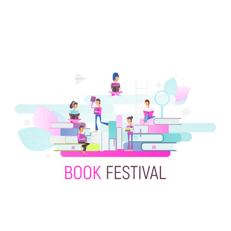 Modern Flat Design Concept for Book Festival, Fair, Reading Challenge. Small Characters Cartoon People Reading and Sitting on Big Books. Vector Illustration for Literature Event. Square Format and White Background. Stock Illustratie