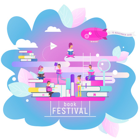 Modern Flat Design Concept for Book Festival, Fair, Reading Challenge. Small Characters Cartoon People Reading and Sitting on Big Books. Vector Illustration for Literature Event. Square Format. Stock Illustratie