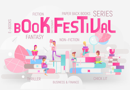 Modern Flat Design Concept for Bookstore and Festival or Fair Advertising. Small Characters Cartoon People Reading and Sitting on Big Books. Vector Illustration. Big Letters Book Festival. Stock Illustratie