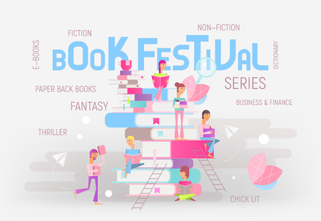 Modern Flat Design Concept for Book Festival, Fair, Reading Challenge. Small Characters Cartoon People Reading and Sitting on Big Books. Colorful Vector Illustration for Literature Event, Bookstore Advertising, Book Fair Banner.