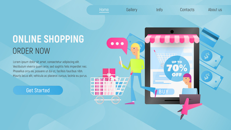 Online Shopping Landing Page. E-commerce Concept. Young Man and Girl Making Purchases using Laptop near Big Smartphone. Blue Gradient Background. Vector Illustration for Mobile Apps and Web Site Design.