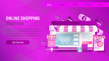 Online Shopping Landing Page. E-commerce Concept. Shopping Boxes and Bags near Big Laptop. Violet Gradient Background. Vector Illustration for Mobile Apps and Web Site Design. Stock Illustratie