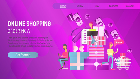 Online Shopping Landing Page. M-commerce Concept. Flat People Making Purchases using Mobile Smartphones. Vector Illustration for Mobile Apps and Web Site Design. Stock Illustratie