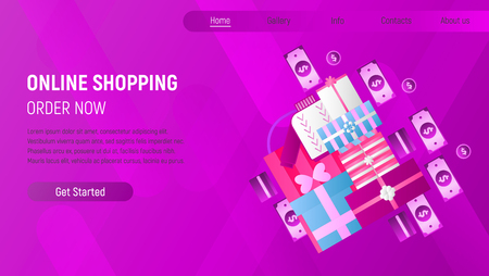 Online Shopping Landing Page. E-commerce Concept. Shopping Boxes and Bags, Money, Banknotes on Violet Gradient Background. Vector Illustration for Mobile Apps and Web Site Design. Stock Illustratie