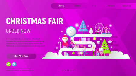 Christmas Fair Landing Page. Young People Making Purchases in Xmas Market Online. Flat Design for Mobile Apps, Websites. Vector Illustration. Violet Background. Stock Illustratie