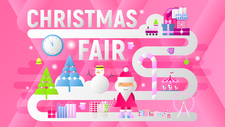 Christmas Fair Banner. Modern Flat Design – Shopping Boxes, Bags, Xmas Characters and Elements. Vector Illustration for Mobile Apps, Landing Page and Web Site. Pink Background. Stock Illustratie