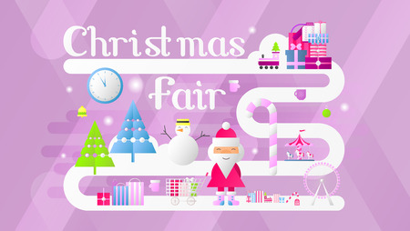 Christmas Fair Banner. Modern Flat Design – Shopping Boxes, Bags, Xmas Characters and Elements. Vector Illustration for Mobile Apps and Web Site. Stock Illustratie