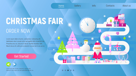 Online Christmas Fair Landing Page - Winter Holidays Purchases Template. Modern Flat Design – Shopping Boxes, Bags, Xmas Characters. Vector Illustration for Mobile Apps and Website. Blue Gradient.