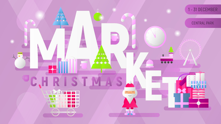 Christmas Market Advertising. Landing Page. Winter Holidays Fair Concept. Shopping Boxes and Bags near Santa and Christmas Tree. Vector Illustration for Mobile Apps, Web Design. Stock Illustratie
