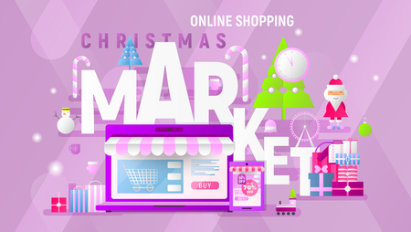 Christmas Market Online Shopping Landing Page. E-commerce Fair Concept. Shopping Boxes and Bags near Big Laptop, Santa and Christmas Tree. Vector Illustration for Mobile Apps, Web Design. Stock Illustratie