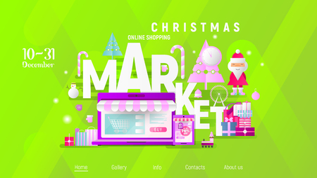 Christmas Market Online Shopping Landing Page. E-commerce Winter Holidays Concept. Shopping Boxes and Bags near Big Laptop, Santa and Christmas Tree. Vector Illustration for Mobile Apps, Web Design.