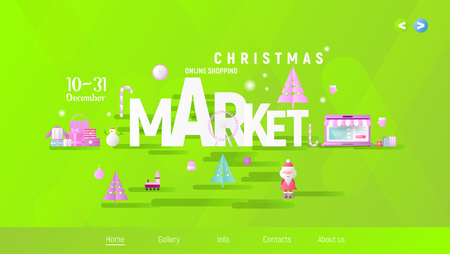 Christmas Market or Fair Landing Page. Xmas Objects and Design Elements on Green Gradient Background. Modern Flat Design Vector Illustration for Mobile Apps and Web Site.