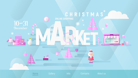 Christmas Market or Fair Landing Page. Xmas Objects and Design Elements on Blue Gradient Background. Modern Flat Design Vector Illustration for Mobile Apps and Web Site.