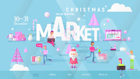 Christmas Market Banner. People Making Purchases on Xmas Fair. Landing Page Template of Online Holidays Shopping. Modern Flat Design. Vector Illustration for Mobile Apps, Website. Blue Gradient.