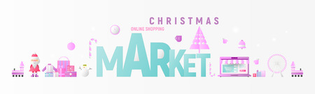Christmas Market Online Shopping Horizontal Banner with Xmas Elements and Santa Claus. Great for Flyers, Posters, Headers, Landing Page, Website. Vector Illustration. Flat Design.