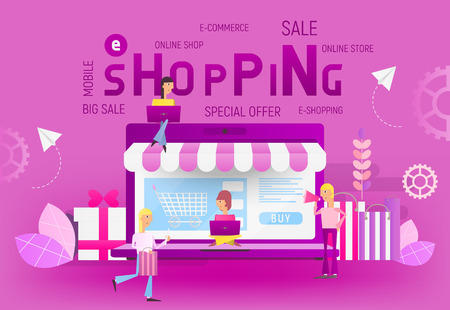 Big Violet Laptop and Young People who Do Online Mobile Shopping on Trend Colors Banner. Vector Illustration for E-commerce Apps and Web.