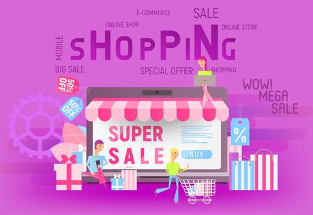 Modern Flat Design Concept of Shopping Online on Website or Mobile Application. Digital marketing Banner. Vector Illustration for Web Page, Social Media and Landing Page.