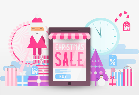Online Shopping Christmas Sale Banner - Santa Claus, Snowman, Fir Tree and Purchases near Big Smartphone with Store Shop. Vector Illustration for Mobile Apps and Web Site Design.