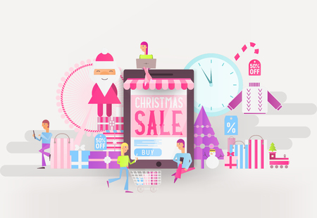 E-commerce Christmas Sale Banner - Santa Claus, Snowman and Young People who Do Online Mobile Shopping near Big Smartphone with Store Shop. Vector Illustration for Mobile Apps and Web Site Design. Stock Illustratie