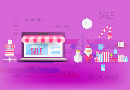 Online Shopping Christmas Sale Banner - Santa Claus, Snowman, Fir Tree and Purchases near Big Laptop with Store Shop. Vector Illustration for Mobile Apps and Web Site Violet Design.